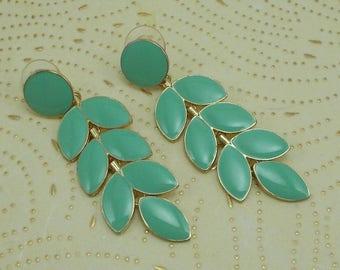 Mint Green Leaves Dangle Post Earrings  3843