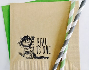 ORIGINAL By With Love + Ink~ Custom Where The Wild Things Are Napkins~ Wild One Birthday Cocktail Napkins, Set of 50