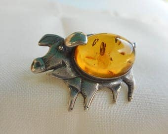 Sterling Silver with Amber Unique Adorable Piglet / Pin Plump Little Piglet