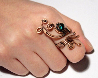 Wire Wrapped Ring-copper wire jewelry-copper ring-adjustable ring- emerald green- wire wrapped jewelry handmade-copper jewelry