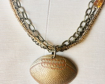 Football necklace, sports jewelry, football fan, Superbowl 2018
