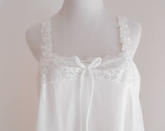 Vintage sweet white chiffon babydoll nightgown
