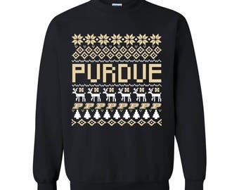Purdue Boilermakers Holiday Ugly Sweater Crewneck Sweatshirt - Black