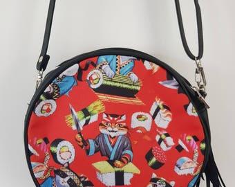 Red Japanese Sushi Cat Round Handbag - Japan Kitten Bag Clutch