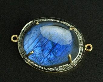 Blue Flash Labradorite Cabochon Pave Diamond Link Connector Gold Vermeil Gemstone Connector/Pendant (DPLB-40026)