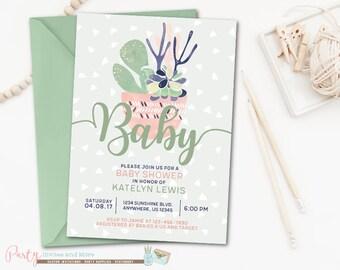 Succulent Baby Shower Invitation, Cactus Baby Shower Invitation, Succulent Invitation, Gender Neutral Baby Shower Invitation, Mint, Navy