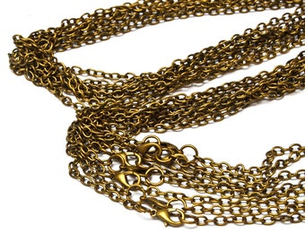 Brass Coloured Necklace Chain with Lobster Clasp · Ready to Use · 8 Chains · 82cm Length