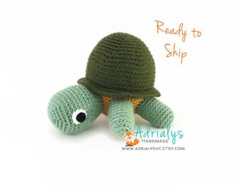 Crochet Turtle- Turtle Plush- Green Turtle Toy- Crochet Toy- Stuffed Turtle- Handmade Turtle- Crochet Toy- Ready to Ship