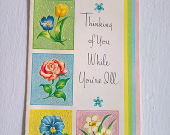 Vintage Thinking of You Get Well Greeting Card --- Retro 1950's Sentimental Snail Mail Collectible Spring Flowers Print Cute Fun Home Decor