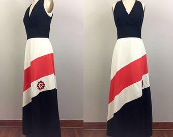 Vintage 70s STRIPE Maxi Dress Black Red White w/ Flower Embroidery M