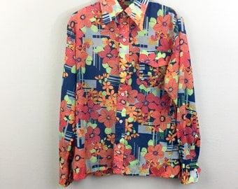 Vintage 60s 70s Mens Floral Shirt Hippie Disco Flower Power