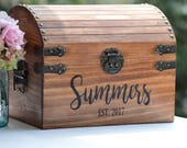 Personalized Wedding Card Box, Rustic Wedding Card Box With Slot, 5th Anniversary Gift, Wedding  Memory Chest, Custom Keepsake Trunk