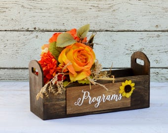 Sunflower Wedding Decor, Sunflower Wedding Favors Box, Fall Wedding Ideas, Rustic Wedding Programs Holder, Advice For The Bride And Groom
