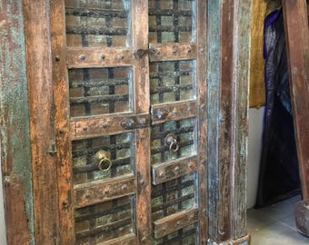 Antique India Doors Distressed Rustic Vintage Teak Iron Carved Architecture Barn Doors SPANISH Hacienda Shabby Chic  18C