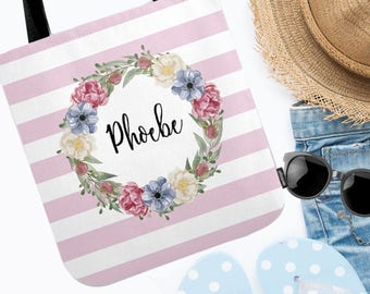Tote Bag Floral - Personalize - Tote Bag - Available in pink or blue