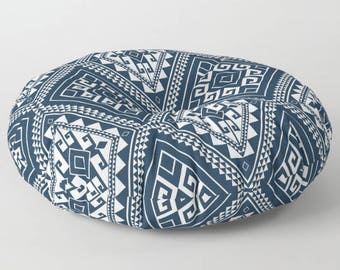 Dark Navy Pouf, Navy Floor Cushions, Pouf Seating, Mandala Floor Pillow, Mandala Cushion, Indian Cushions, Round Floor Cushions