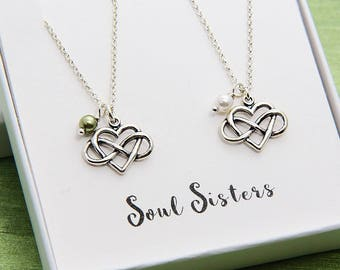 Best Friend Necklace, Set of 2 Necklace, Sterling silver Heart Necklace, Infinity Necklace, Personalized Necklace, Valentine Gift for Friend