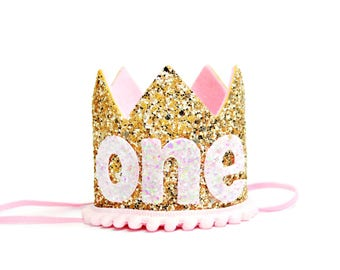 First Birthday Outfit Girl || Pink Birthday Crown || First Birthday Girl Outfit || Girl Crown || Gold Birthday Hat || Girl Cake Smash ||