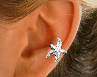 Starfish Ear Cuff NON-PIERCED Earring Wrap Gold or Rhodium on Sterling Silver
