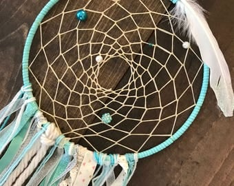 Turquoise Dreamcatcher Wall Hanging, boho dreamcatcher, teal