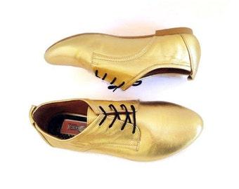 SALE - Golden Oxfords - Gold Brogue  - Mina Shoes Mexico