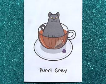 Purrl grey greeting card, tea card, cat birthday card, cute cat card, early grey tea card, funny greeting card, tea addict, funny cat card