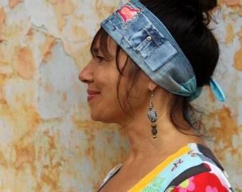 Fantasy denim floral embroidered headband recycled gypsy hippie boho style