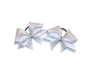 Pig Tail Cheer Bows - Mini Cheer Bows - White Cheer bow - White Glitter Pigtail Bows