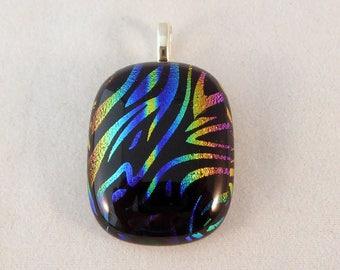 Multi Colored Dichroic Fused Glass Pendant, Multi Colored, Fused Glass, Fused Glass Pendant, Glass Pendant, Dichroic Pendant, Pendent