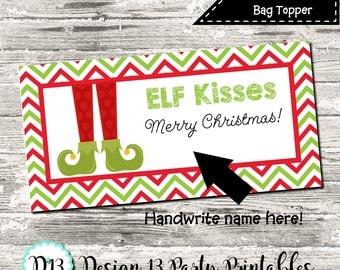INSTANT DOWNLOAD Elf Kisses Chevron Christmas Treat Bag Topper Digital Printable