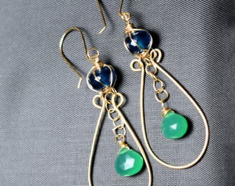 Gold filled earrings with Blue Onyx and Green Onyx briolette