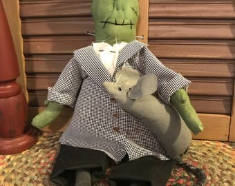 Primitive Halloween Frankenstein Doll with Pet Mouse, Handmade Doll, Folk Art