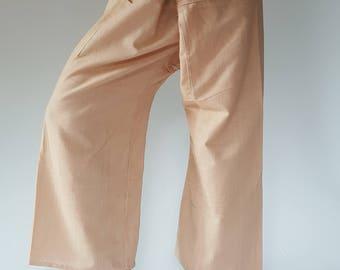 TCP0010 LightBrown Fisherman pants thai yoga pant pants men's Fashion fit for all
