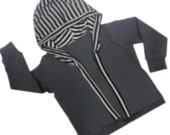 Striped Hooded Cardigan, Charcoal Knit Hoodie, Open Cardigan, Grandpa Cardi, Lightweight Jacket, Fall, Back to School
