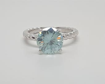 2.14ct Round Blue Moissanite Diamond 14kt White Gold Ring Size 5.25