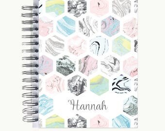 Bullet Journal – Personalized | Spiral | Dot Grid | Notebook | Marble