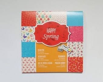Paperpad 30 Sheets - Scrapbook Paper - Design Paper Pad - Happy Spring - Flamingo Butterflies Flowers - Colorful Fun Bright - 6x6 Paper Pad