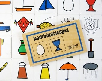 Kombinatiespel - Vintage Dutch Tile Matching Game - Educational Kids Teaching Tools - Wood Box Complete Set Illustrated Square Plastic Tiles
