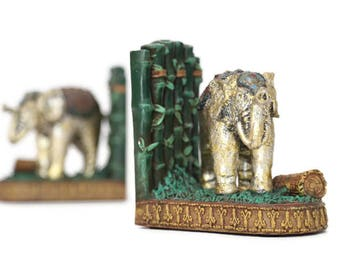 Elephant Bookends, Indian Elephant Bookends, Asian Elephant Bookends, CBK 1998 Elephant Bookends, Painted Resin Elephant Bookends, Book Ends