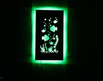 Under The Sea LED Metal Wall Sculpture With Remote Control