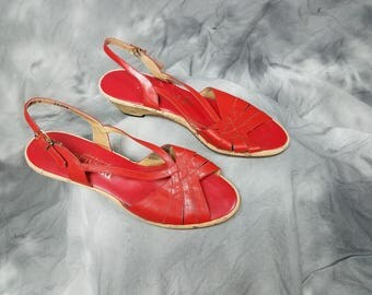 Red leather wedge sandals, cork heels, open toe strappy shoes, Penaljo, size 9.5