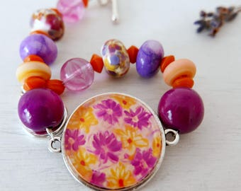 Purple Bracelet, Orange Bracelet, Lampwork Glass Beads, Autumnal Bracelet, Floral Art Bracelet, Yellow Flowers Bracelet, Purple Flowers