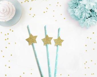 Pale Blue& Gold Glitter Star Straws - Twinkle Twinkle straws, star paper straws, little star party, twinkle twinkle party, star party