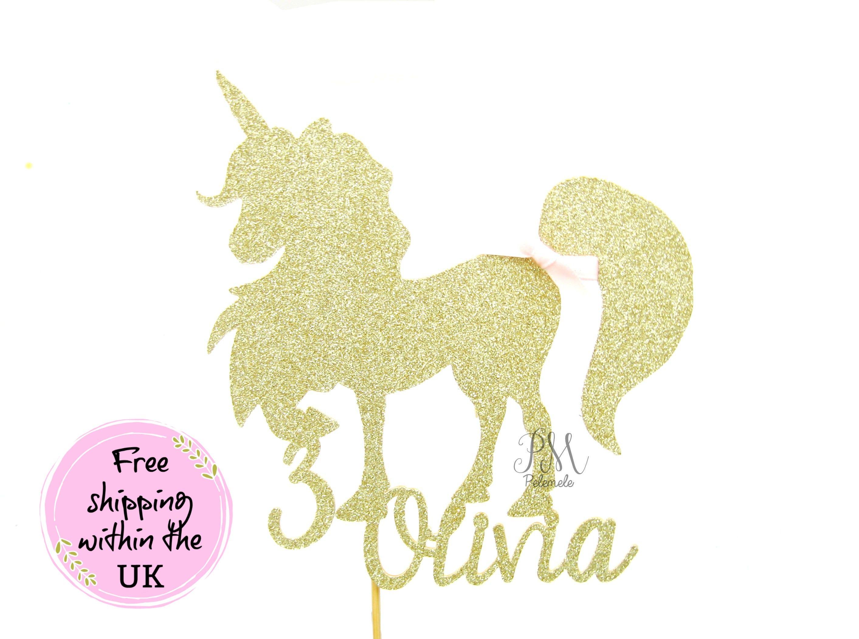 Custom Name Glitter Unicorn Cake Topper Girls Birthday Cake Topper