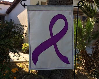 purple ribbon charity garden flag - Alzheimer's awareness