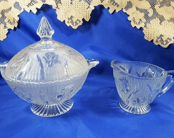 Depression Glass, circa 1930s, Candy Dish and Creamer in Iris Clear by Jeannette