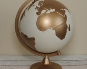 """Hand Painted White and Gold Globe 