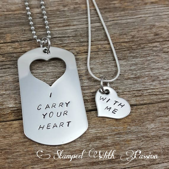 custom hand stamped matching necklace set i carry your heart