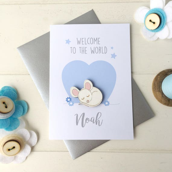 New baby boy card - baby boy card - birth card