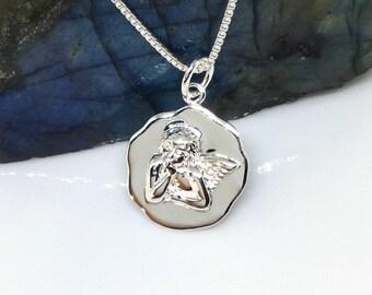 Angel Necklace Sterling Silver Angel Pendant Guardian Angel Medallion Cherub Charm Raphael Angel Necklace Silver 925
